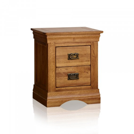 french farmhouse rustic solid oak 2 drawer nightstand 5b6420bb68bc2