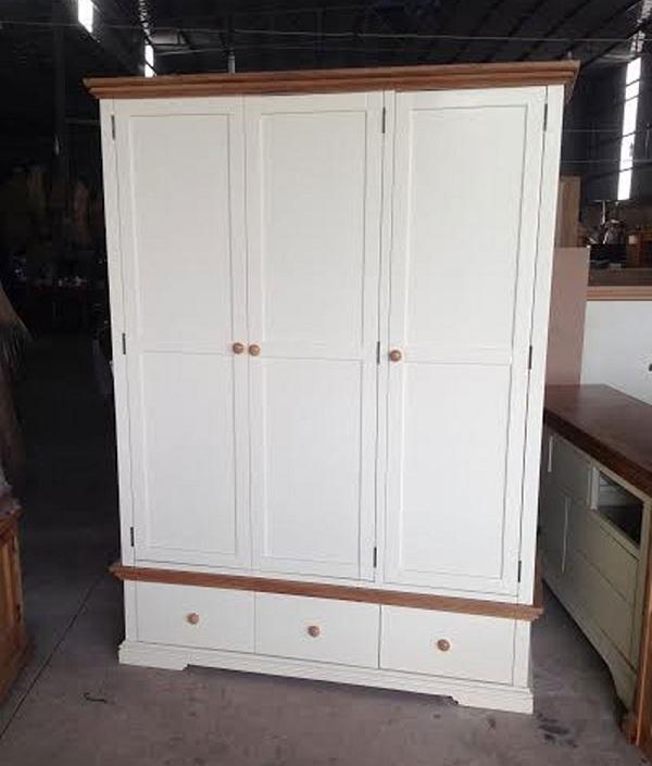 tủ áo gỗ sồi trắng