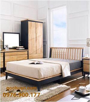 Giường ngủ gỗ sồi Mỹ kiểu Hàn Quốc